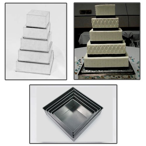 5 Tier Square Multilayer Wedding Birthday Anniversary Cake Baking Tins - Cake Pans 6