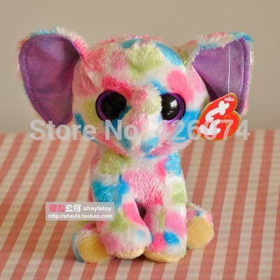 New Original Ty Beanie Boos Big Eyed Elfie Elephant Stuffed Animals Plush Toys For Children Gifts Kids Toys 15CM