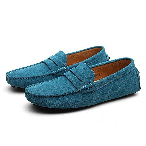 Klassische Loafers Echtes Mokassin Halbschuhe Schuhe Duoro Weiche Herren Leder Wohnungen Himmelblau Fahren 5tIqx5w0B