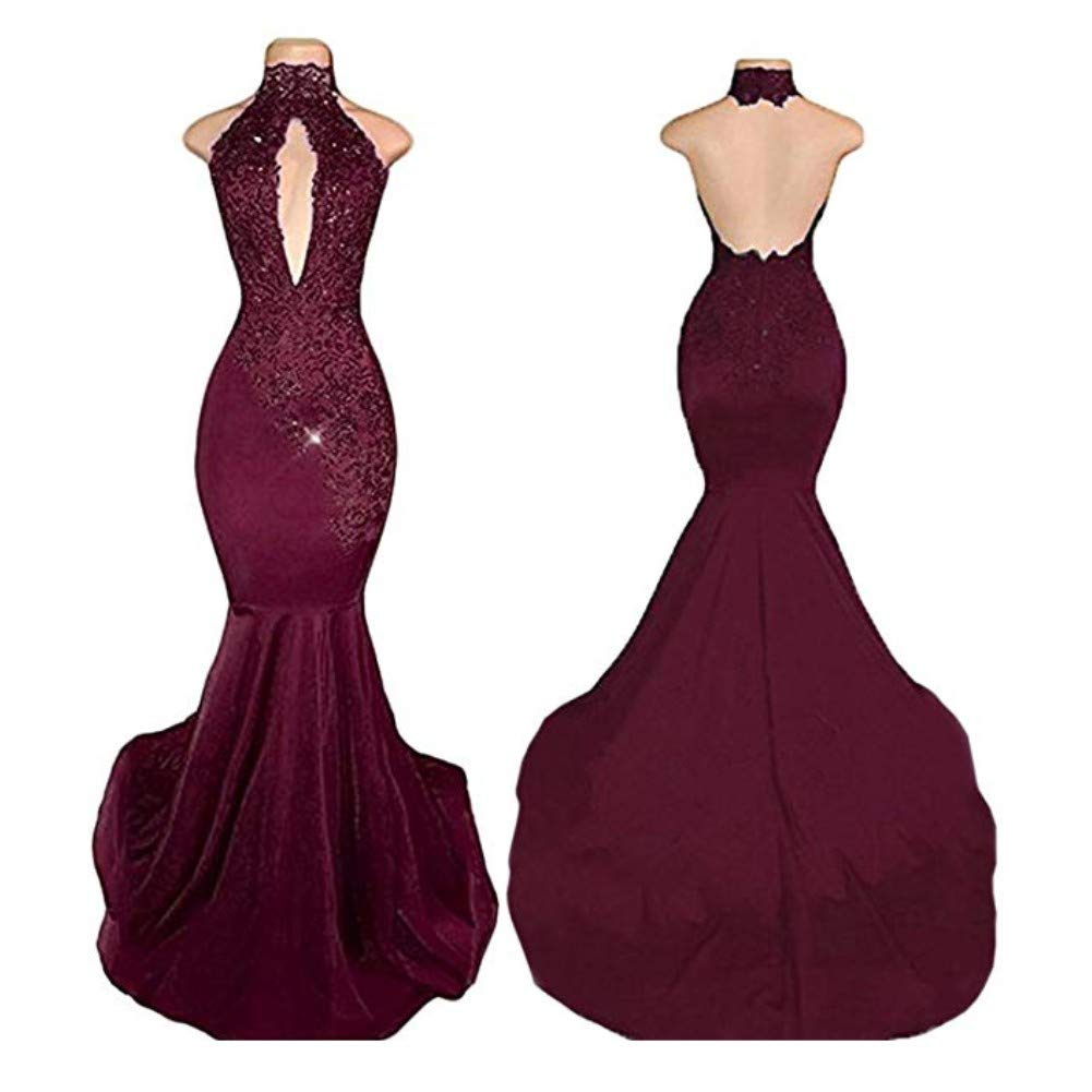 Burgundy Liaoye Mermaid Lace Prom Dresses for Women 2018 Long Sexy Beaded High Neck Evening Gowns
