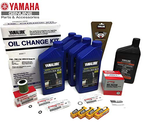 YAMAHA 2006+ F150 F150B Outboard Oil Change 10W30 FC 4M Lower Unit Gear Lube Drain Fill Gaskets NGK Spark Plugs LFR5A-11 Primary Fuel Filter Maintenance - 4 Fuel Oil