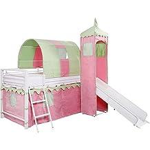 Girl's Princess Castle Tent Loft Bed w/ Slide & Under Bed Storage, White