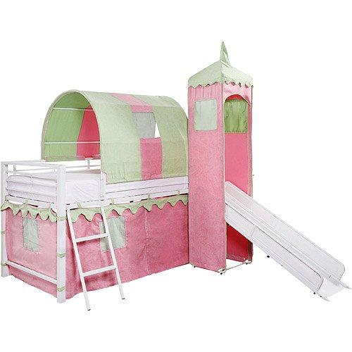 - Girl's Princess Castle Tent Loft Bed w/ Slide & Under Bed Storage, White