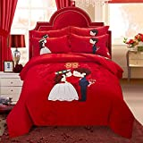 DHWM-Cotton 4 piece ,1.8m thick woolen mill wedding red bed, pure cotton bedding ,2.0m marriage Wedding