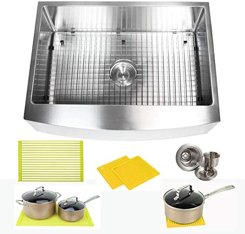 30 Inch Farmhouse Apron Front Stainless Steel Kitchen Sink Package 16 Gauge Curved Front Single Bowl Basin Complete Sink Pack Bonus Kitchen Accessories