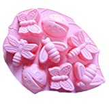 Joyi 2 PCS Insect Silicone Cake Chocolate Mold Pan-Lady Bugs,Butterflies,Bees and Dragonflies,Random Color