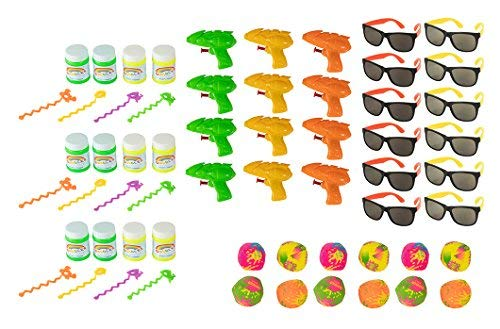 Blue Panda 48-Pack Pool Party Favor Toys for Kids Beach Theme and Summer Parties - 12 Water Guns, 12 Bubbles, 12 Sunglasses, 12 Splash Balls]()