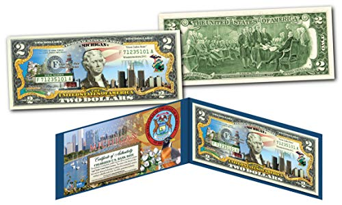 Michigan Portfolio - MICHIGAN Genuine Legal Tender $2 Bill USA Honoring America's 50 States