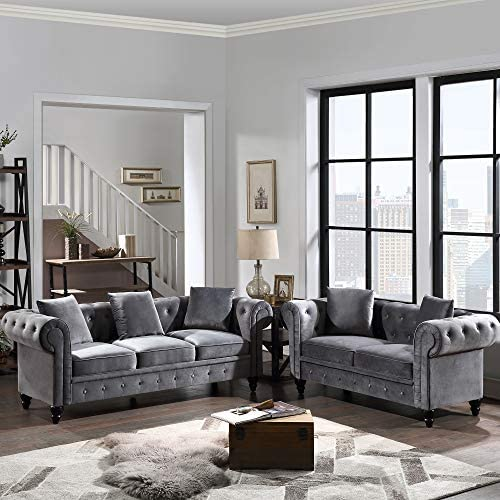 2 Pieces Living Room Sofa Set, Couch Furniture...