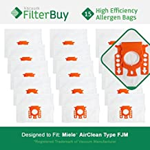 15 FilterBuy Miele FJM Compatible Vacuum Bags, Miele Part # 7291640. Designed by FilterBuy to fit The Miele HyClean FJM Canister Vacuum Cleaner