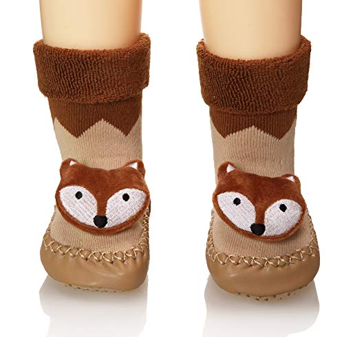 Eocom Baby Boy Girls Toddlers Animal Moccasins Non-Skid Indoor Slipper Winter Warm Shoes Socks (Brown, 6-12 Months)