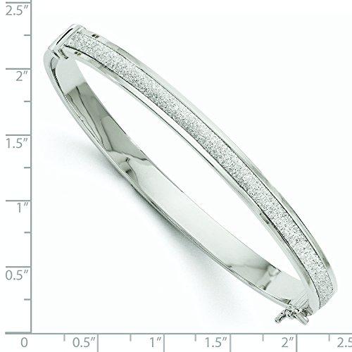 Or blanc 14ct Fancy Glimmer infusé à charnière bracelet jonc
