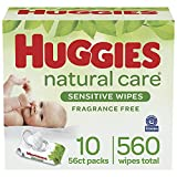 Baby Wipes, Huggies Natural Care Sensitive Baby Diaper Wipes, Unscented, Hypoallergenic, 10 Flip-Top Packs (560 Wipes Total)