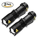 2 pack 7W Mini Led Flashlight 300 Lumen Super Bright Adjustable Focus Zoom J5 Tactical Light with 3 Modes by Letmy