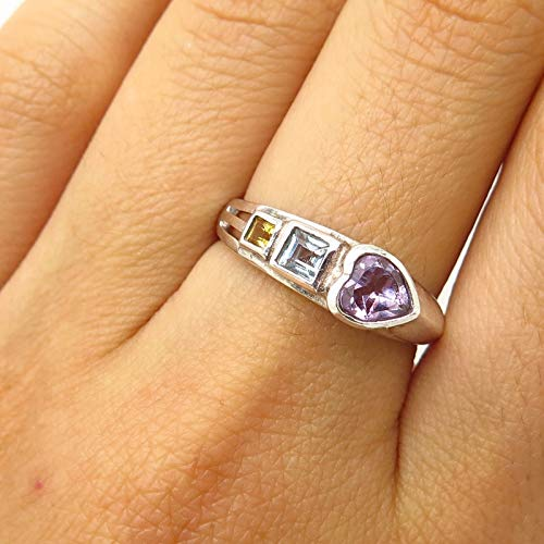 925 Sterling Silver Real Multi-Color Gemstone Heart Design Ring Size 7.5 Jewelry by Wholesale Charms ()