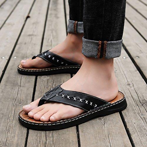 39 Nero 49 creativo pelle da Colore il pelle 45 confortevole uomo morbida morbida sandalo Nero tempo infradito dimensioni libero in spiaggia in dimensioni Sandali per USHA4qU