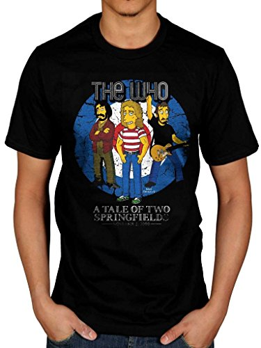 Homer Rocks (AWDIP Men's Official The Simpsons The Who The Tale Of Two Springfields T-Shirt Bulls Eye Homer Rock Band)