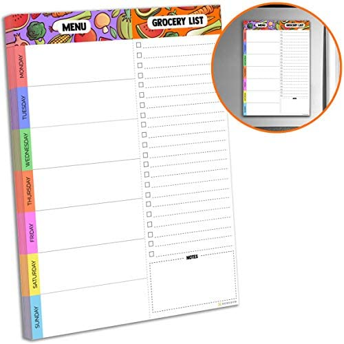 Magnetic Meal Planning Pad   7x10 inch Fridge Notepads for Organized Daily & Weekly Planner   Tear-Off Grocery List Checklist for Convenient Shopping   Notepad with Magnet for Refrigerator or Desk 1