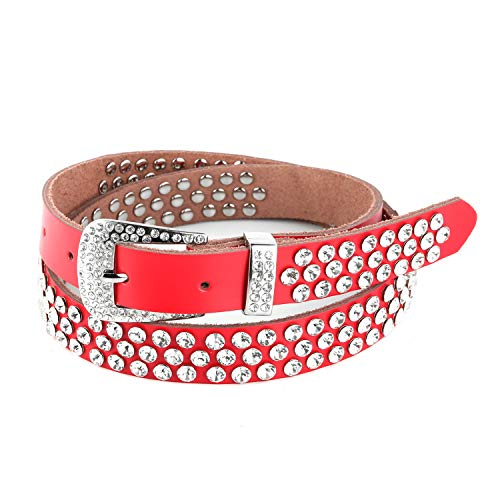HZMAN Ladies Fashion Studded Western Crystal Berry Rhinestone Bling Cowgirl Leather Belt (Red - 3 Rows)