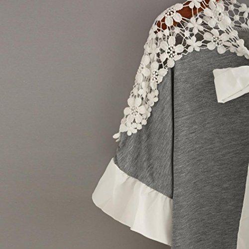 Moonuy Casual Automne Tops Noeud souple Gris dentelle femmes Chemisier papillon Femmes Patchwork Automne T shirt shirt blouse courtes manches EqpTw1f