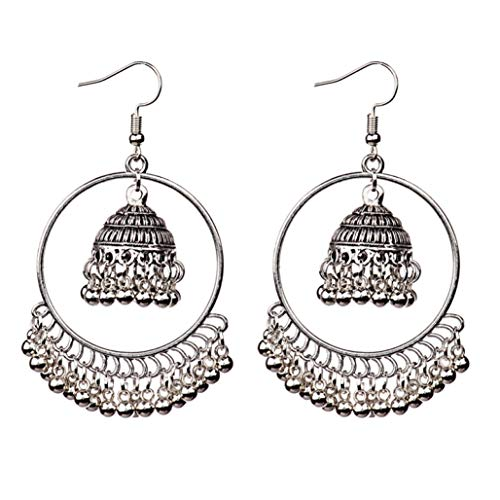 Indian Sliver Small Bells Drop Tassel Earrings Women Girls Boho Ethnic Big Round Circle Dangling Earring ()