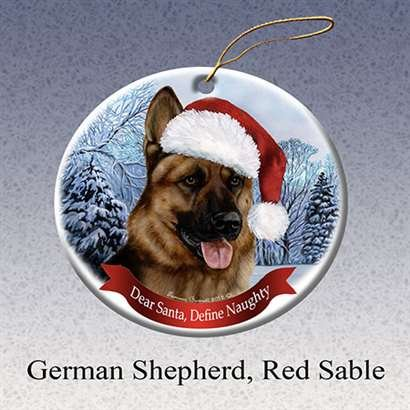 Sable Christmas Ornaments (German Shepherd Dog Santa Hat Christmas Ornament Porcelain China U.s.a. Gift)