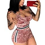 Women's Sexy 2 Piece Outfits Sleeveless Strap Sweatsuit and Short Pants Set Tracksuits Pink S