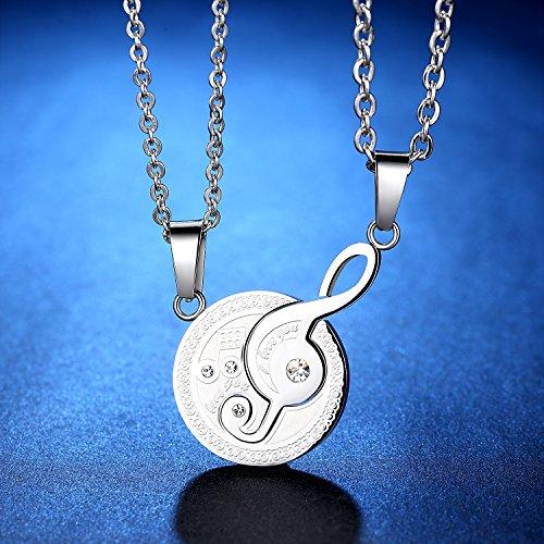 OneChance 2 pcs Music Notation Couples Colliers Acier inoxydable serrure et colliers Cadeaux pour les couples
