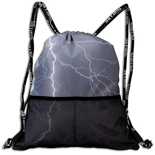 Polyester Drawstring Backpack Theft Proof Waterproof Large Size Shoulder Bags Large Capacity For Basketball, Volleyball, Baseball, Sports Gear (Lightning Flash Pattern) ()