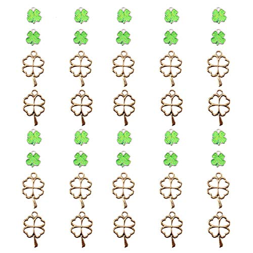 JETEHO 40 Pcs Enamel Sequins Dangle and Metal Alloy Lucky Four-Leaf Clover Charm Pendant for Crafting, Jewelry Findings Making Accessory for DIY Necklace Bracelet