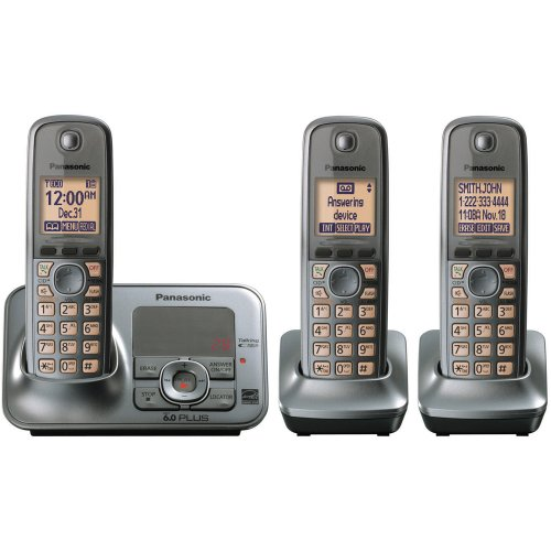 (Panasonic KX-TG4133M DECT 6.0 Cordless Phone with Answering System, Metallic Gray, 3 Handsets)