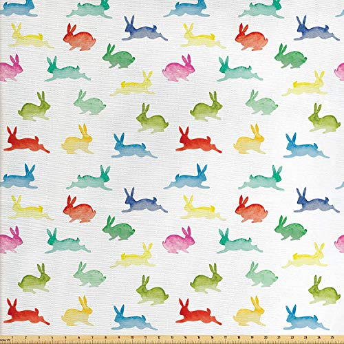 Lunarable Paint Fabric by The Yard, Cute Rabbits in Different Poses Jumping Running Bunnies Happy Easter Paintbrush Art, Decorative Fabric for Upholstery and Home Accents, 1 Yard, Multicolor ()