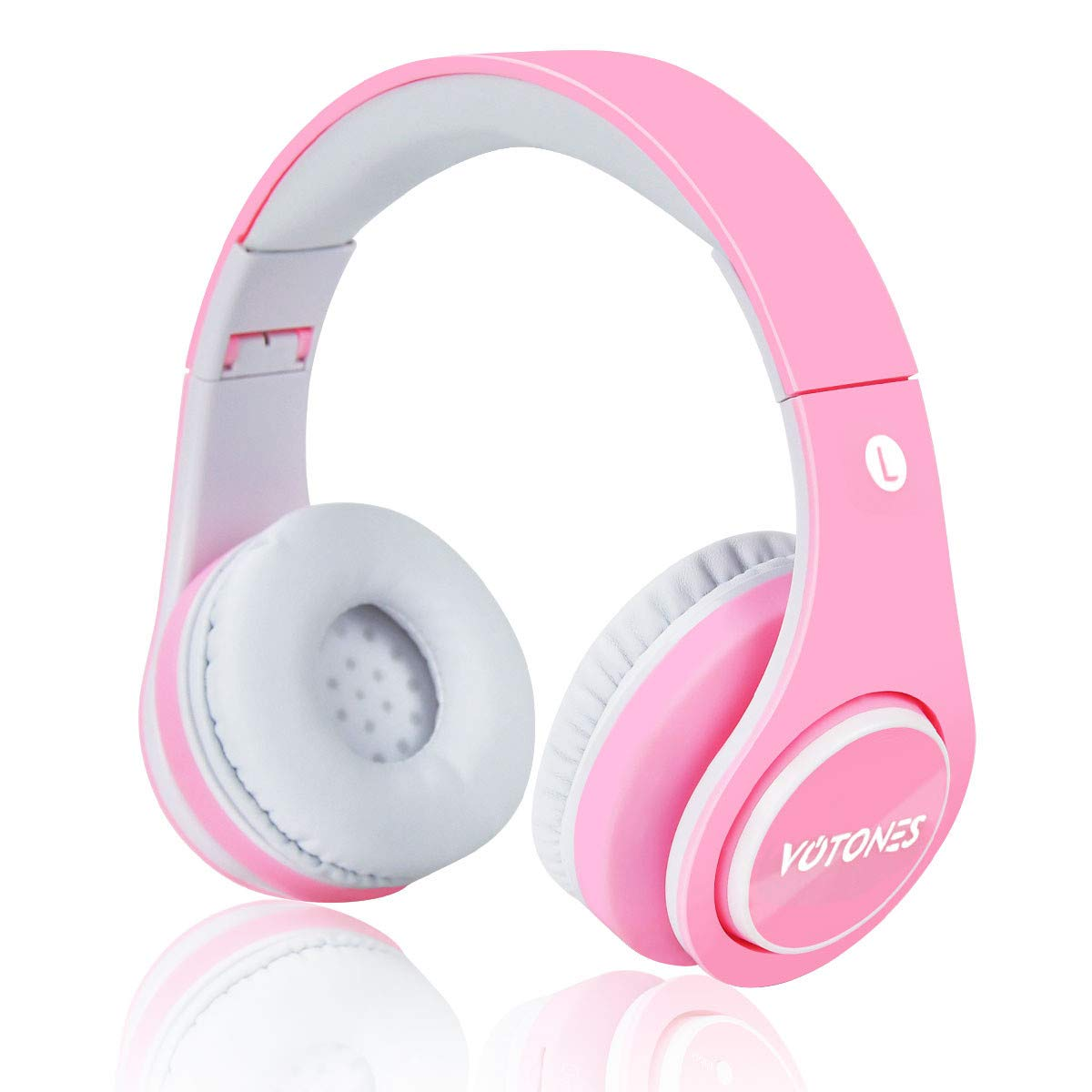 【Upgrade Version】 Girls Wireless Bluetooth Headphone,VOTONES 85dB Volume Limited Kids Foldable Over Ear Headset,Great Gift for Children Earphone Compatible with Smartphones and PC Tablet(Pink)