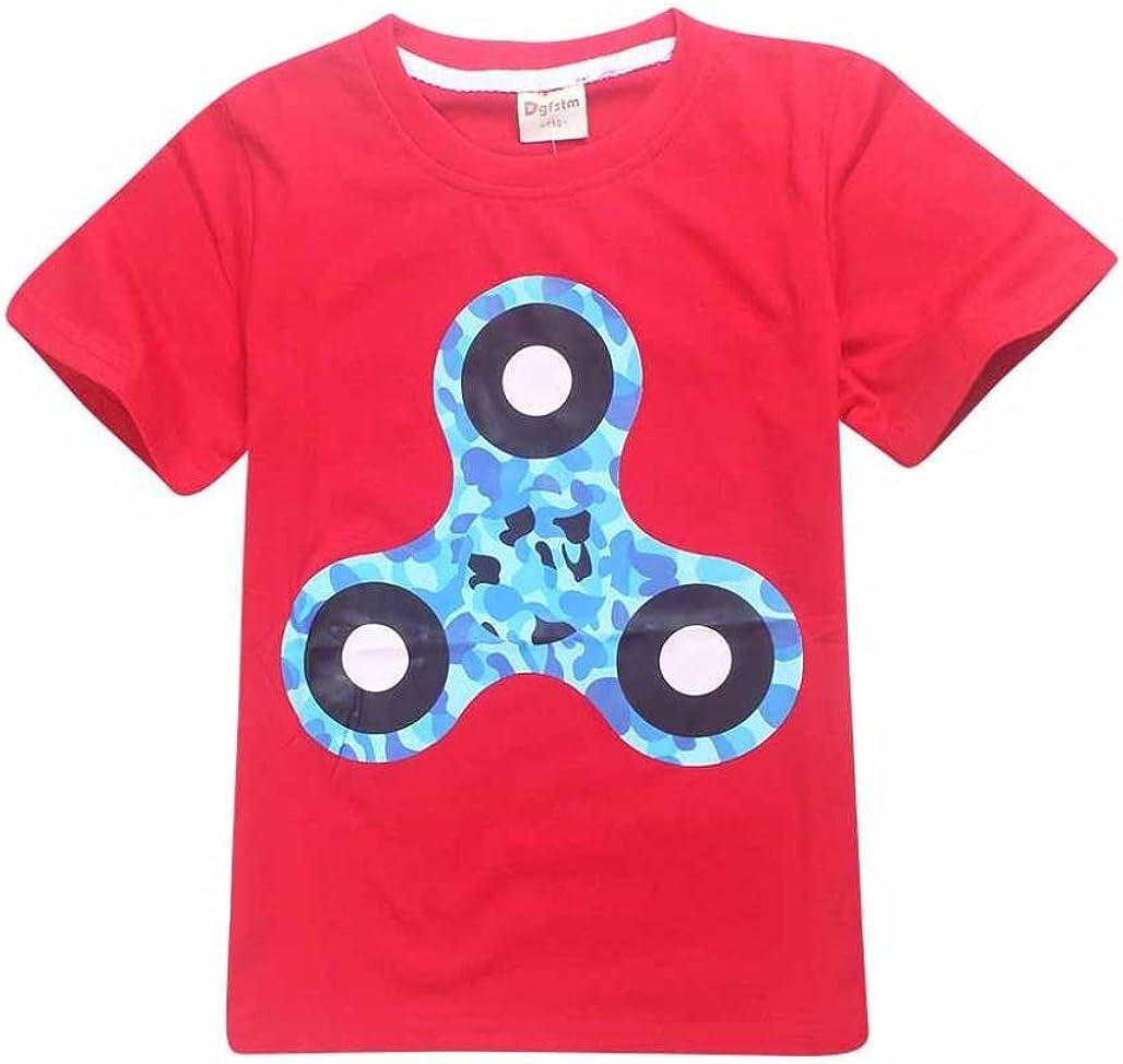 Fineser Little Boys Summer Short Sleeve Hand Spinner Print T-Shirt Tops Kids Summer Casual Tees