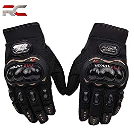 Riderscart Probiker Synthetic Leather Motorcycle Gloves (Black, XL) (Pro-Biker-Glove-Blk)