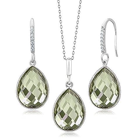 19.50 Ct Green Amethyst 16x12mm Pear Shape Silver Pendant Earrings Set 18