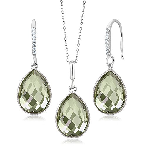(Gem Stone King 925 Sterling Silver Green Amethyst Pendant Earrings Set 19.50 Cttw Pear Shape 16X12MM with 18 Inch Silver Chain)