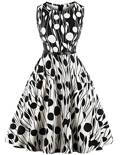 FAIRY COUPLE 50s Vintage Retro Cocktail Swing Party Dress with Belt Pockets DRT073(XL,073 Black and White)
