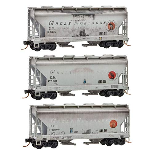 Micro-Trains MTL N-Scale 2-Bay Covered Hoppers Great Northern/GN Weathered 3-Pk