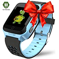 Smart Watch for Kids - Smart Watches for Boys Smartwatch GPS Tracker Watch Wrist Android Mobile Camera Cell Phone Best Gift for Girls Children boy Pink Blue Yellow (Blue)