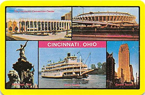 Cincinnati Landmarks trading playing card 1970 Era Riverfront Stadium, Carew Tower, Tyler Davidson Fountain, Delta Queen, Convention ()