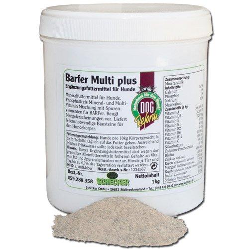 Barfer Multi plus, 1 kg Phosphatfreie Mineral und Multivitamin Mischung beugt Mangelerscheinungen beim Barf für Hunde vor barf Nahrungsergänzung