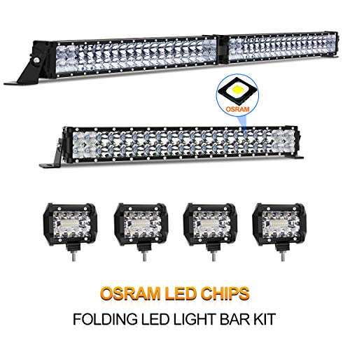 "LED Light Bar Kit, Rigidhorse 76000LM 42 Inch 400W + 22 Inch 220W Flood Spot Beam Combo White LED Light Bars + 4PCS 4"" 30W LED Light Pods Fit For Jeep Truck ATV, 3 Years Warranty"