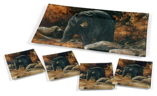 Millet Tray - Black Bear Glass Trays by Rosemary Millette