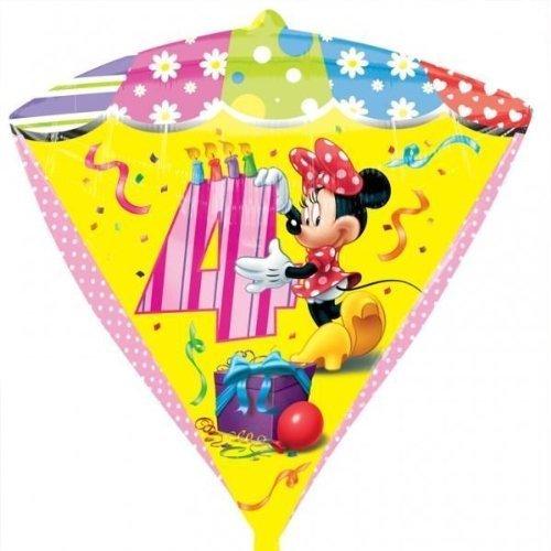 Minnie Mouse Age 4/4th Birthday Diamondz Foil Balloon