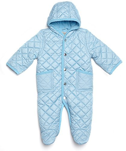 Leveret Quilted Baby Snowsuit (6 Months, Light Blue)