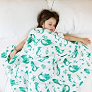 100% Organic Muslin Everything Blanket by ADDISON BELLE - Oversized 47 inches x 47 inches - Best Baby/Toddler Gift - Premium 4 Layer Muslin Blanket/Dream Blanket (Mermaid Print)