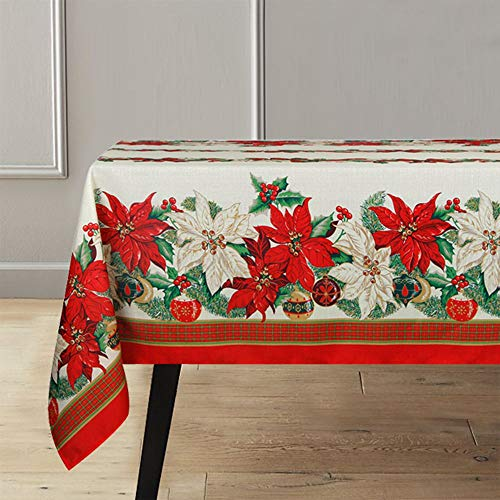 Lahome Christmas Tablecloth-Christmas Poinsettia Scroll Printed Fabric Table Cover Kitchen Dining Room Restaurant Party Decoration (Poinsettia, Rectangle - 60