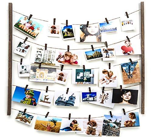 Y&ME Wood Picture Photo Frame for Hanging Wall Decor,Collage Artworks Prints Multi Pictures Organizer with 30 Clips & Adjustable Twines,DIY Wood Hanging Display Frames, Carbonized Black 26 X 29 -
