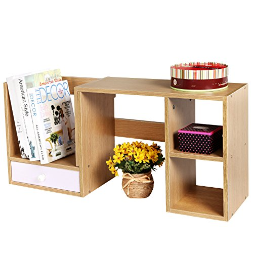Wooden Adjustable Desktop Organizer Storage